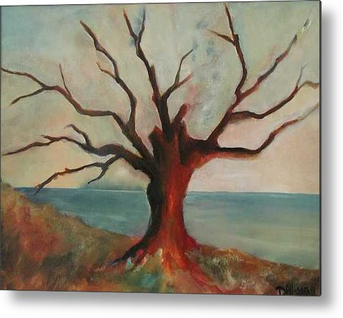 Oak Tree Inspired By Katrina Damage Along The Coast Metal Print featuring the painting Lone Oak - Gulf Coast by Deborah Allison
