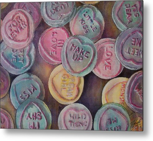 Candy Metal Print featuring the painting Love Hearts by Victoria Heryet