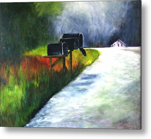 Landscape Metal Print featuring the painting Mail Call by Julie Lamons