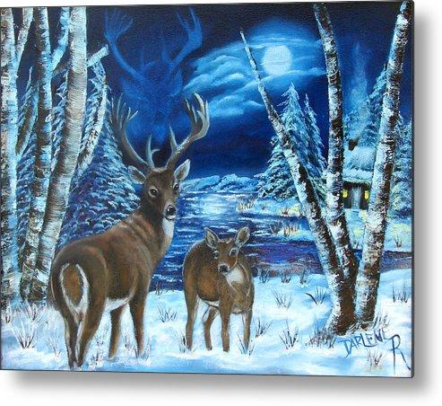 Deer Metal Print featuring the painting Moonlight Walk by Darlene Green
