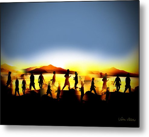 Jogging Metal Print featuring the digital art Morning Routine by Sabine Stetson
