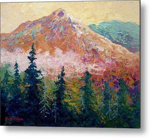 Trees Metal Print featuring the painting Mountain Sentinel by Marion Rose