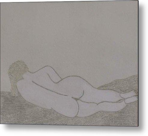 Nude Study; Silver Point Metal Print featuring the drawing No.322 by Vijayan Kannampilly