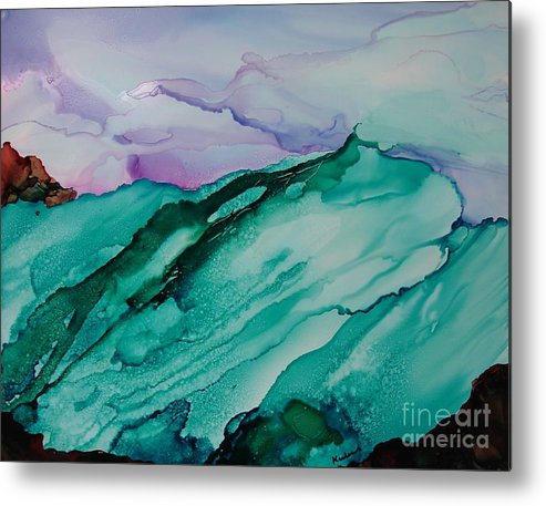 Ocean Metal Print featuring the painting On The Rocks by Susan Kubes