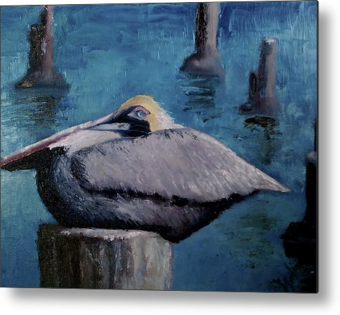 Bird Metal Print featuring the painting Pelican by Wendie Thompson