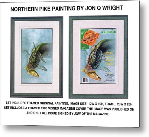Jon Q Wright Metal Print featuring the painting Pike And Perch by Jon Q Wright