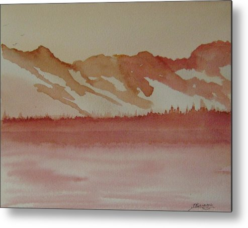 Mountains Metal Print featuring the painting Pink Mountains by Dottie Briggs
