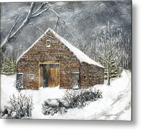 Barns Metal Print featuring the painting Ray Emerson's Old Barn by Jack Skinner