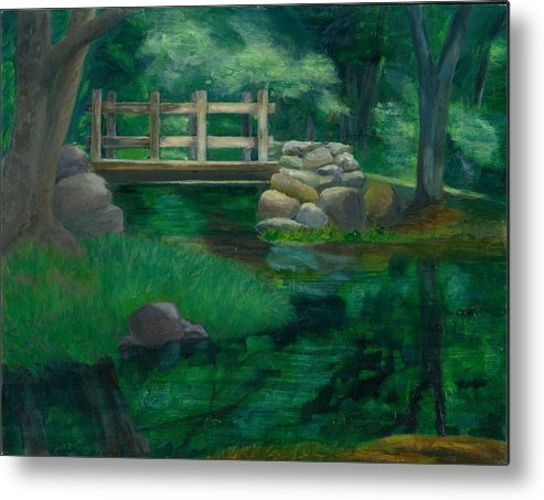 Summer Water Reflections Stream Bridge Landscape Rocks Green Park Metal Print featuring the painting Reflections At Chatfield Hollow by Paula Emery