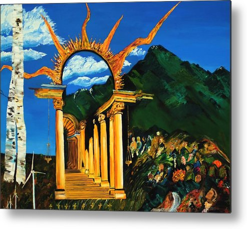 Climategate Metal Print featuring the painting Religion And Nature by Gregory Allen Page