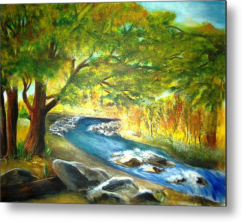 Landscape Metal Print featuring the painting Running Waters by Vivian Mosley