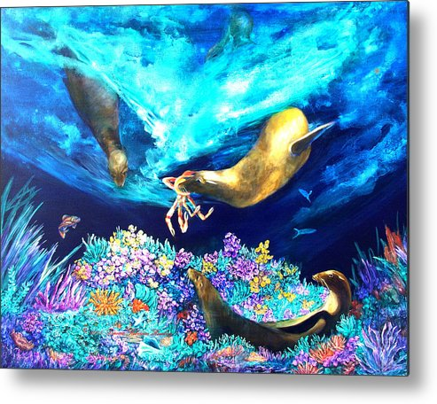 Ocean Metal Print featuring the painting Sea Garden by Dianne Roberson