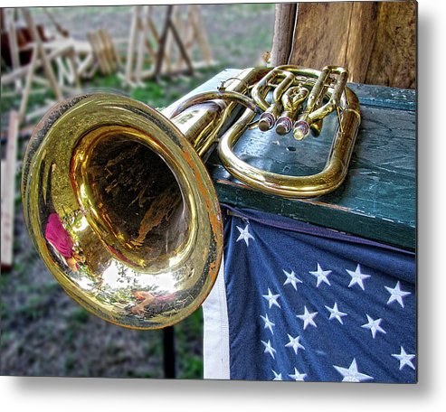 Trumpet Metal Print featuring the photograph Self Portrait Within by Helaine Cummins