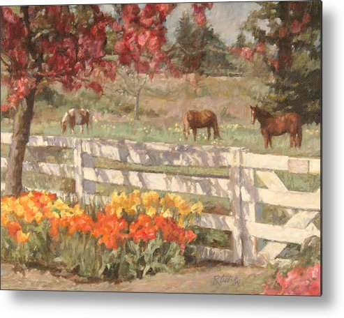 Horse Metal Print featuring the painting Springtime Horses by Robert Tutsky