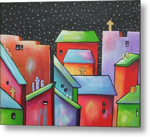 Landscape Metal Print featuring the painting Starry Night In The Little City 2 by Janet Telander