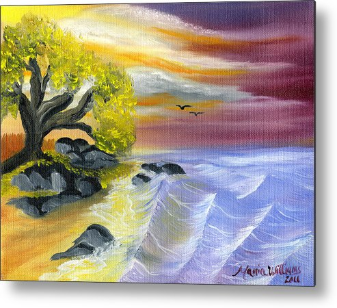 Ocean Metal Print featuring the painting That Yellow Tree By The Sea by Maria Williams