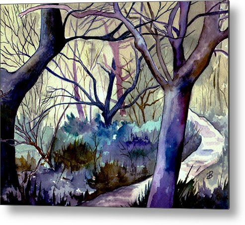 Watercolor Metal Print featuring the painting The Enchanted Path by Brenda Owen