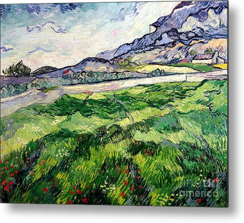 The Metal Print featuring the painting The Green Wheatfield Behind The Asylum by Vincent van Gogh