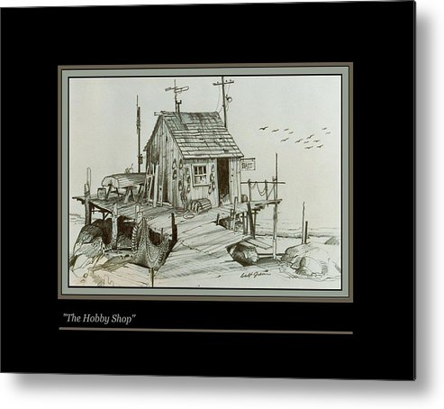 Pencil Drawing Landscape Seascape Fishing Shack Bait Shop Metal Print featuring the drawing The Hobby Shop by Walt Green