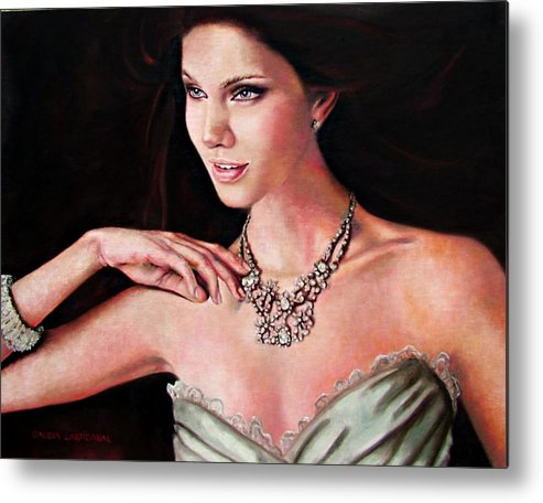 Crystal Metal Print featuring the painting The Look by Claudia Lardizabal