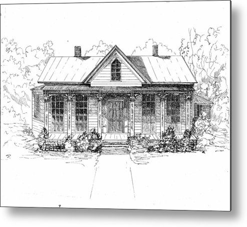 Moore Metal Print featuring the drawing The Moore House by Barney Hedrick