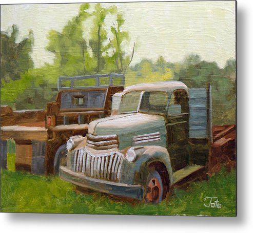 Old Trucks Metal Print featuring the painting The Old Work Force by Tate Hamilton
