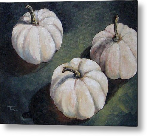 Pumpkin Metal Print featuring the painting The White Pumpkins by Torrie Smiley