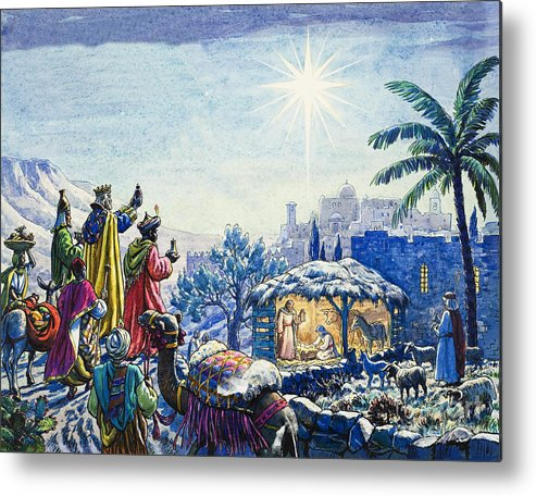Infant; Baby; Birth; Jesus; Christ; Stable; Gifts; Present; Gold; Frankincense; Myrrh; King; Kings; Wise Men; Holy; Mary; Virgin; Madonna; Joseph; Family; Adoring; Worshipping; Stable; Landscape; Three; Christmas; Epiphany; Nativity; North Star; Infant; Baby; Birth; Jesus; Christ; Stable; Gifts; Present; Gold; Frankincense; Myrrh; King; Kings; Wise Men; Holy; Mary; Virgin; Madonna; Joseph; Family; Adoring; Worshipping; Stable; Landscape; Three; Christmas; Epiphany Metal Print featuring the painting Three Wise Men by Unknown
