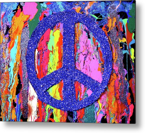 Peace Metal Print featuring the painting Trippy You by Marina Hackett
