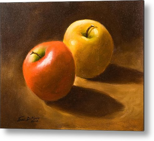Metal Print featuring the painting Two Apples by Joni Dipirro