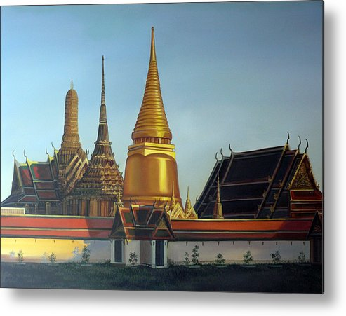 Temple Metal Print featuring the painting Wat Pra Keaw by Chonkhet Phanwichien