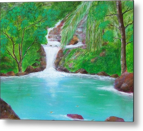 Waterfall Metal Print featuring the painting Waterfall by Tony Rodriguez