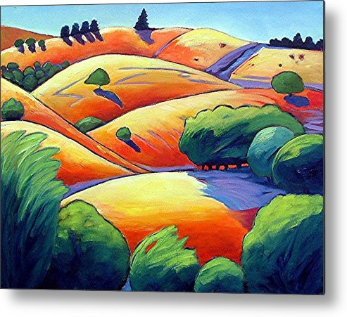 Landscape Metal Print featuring the painting Waves Of Hills by Gary Coleman