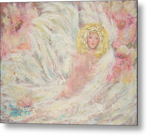Angel Metal Print featuring the painting White Feathers Secret Garden Angel 4 by Natalie Holland