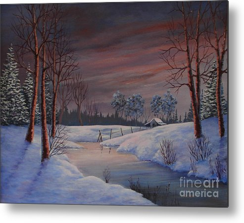 Landscape Metal Print featuring the painting Winter Evening by Jerry Walker