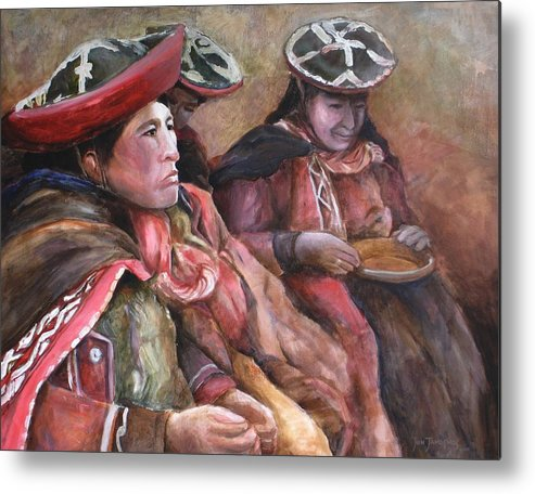 Andes Metal Print featuring the painting Women Of The Andes by Jun Jamosmos