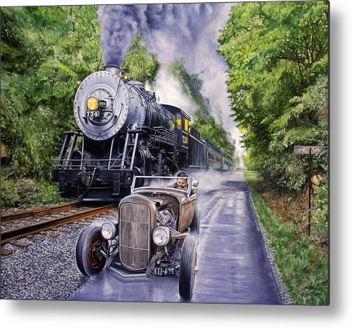 Hot Rod Metal Print featuring the painting Backwoods Duel by Ruben Duran