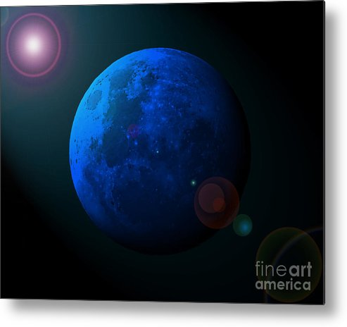 Moon Metal Print featuring the photograph Blue Moon Digital Art by Al Powell Photography USA