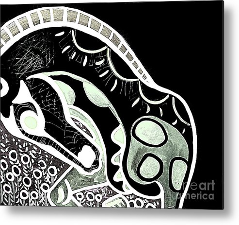 Horse Metal Print featuring the painting Bw Horse by Amy Sorrell