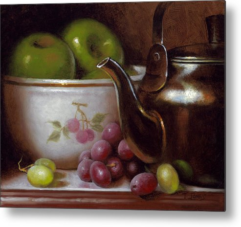 China Metal Print featuring the painting China Bowl And Teapot by Timothy Jones