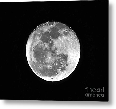 Moon Metal Print featuring the photograph Wolf Moon Waning by Al Powell Photography USA