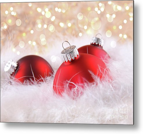 Backgrounds Metal Print featuring the photograph Red Christmas Balls With Abstract Background by Sandra Cunningham