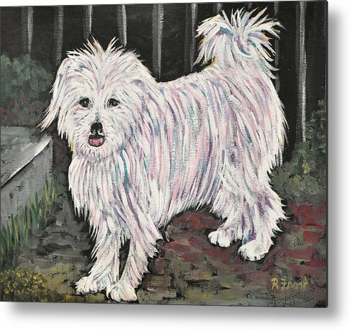 Dogs Metal Print featuring the painting Maltese Terrier Mix In Living Color by Reb Frost