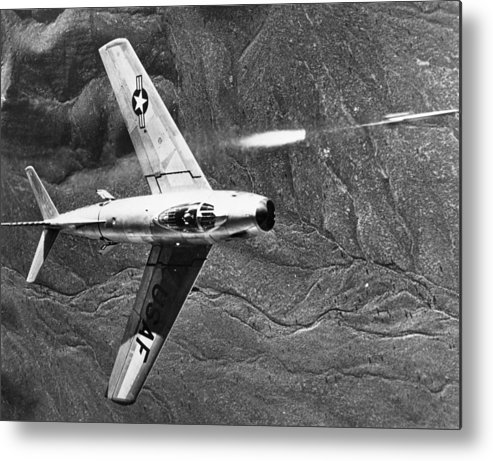 1951 Metal Print featuring the photograph F-86 Jet Fighter Plane by Granger