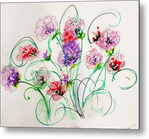 Metal Print featuring the painting Floral Bunch by Trilby Cole