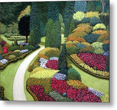 Landscape Metal Print featuring the painting Formal Gardens by Frederic Kohli