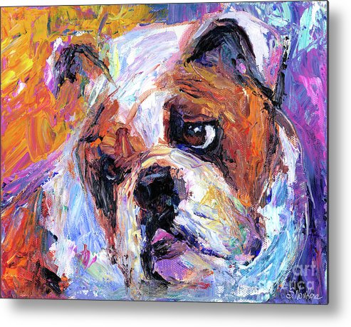 English Bulldog Painting Metal Print featuring the painting Impressionistic Bulldog Painting by Svetlana Novikova