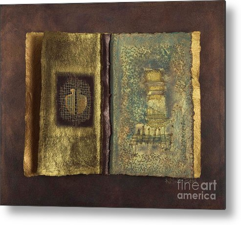 Artist-book Metal Print featuring the mixed media Page Format No 1 Transitional Series by Kerryn Madsen-Pietsch