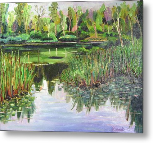Wooldland Metal Print featuring the painting Woodland Reflections by Richard Nowak