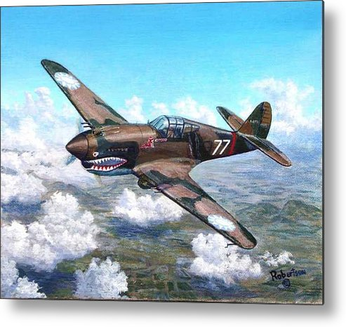 R. T. Smith's Number 77 Over Kunming Metal Print featuring the painting Flying Tiger Over China by Scott Robertson
